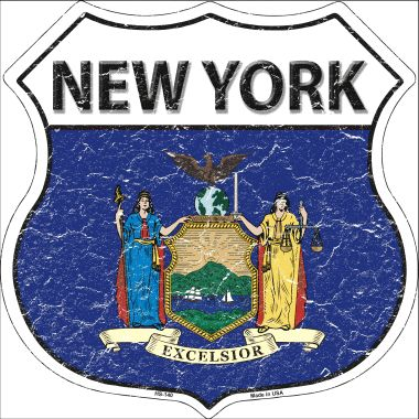 NEW York State Flag Highway Shield Wholesale Metal Sign HS-140