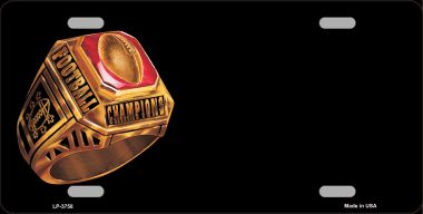 FOOTBALL Champ Ring Offset Wholesale Metal Novelty License Plate LP-3758
