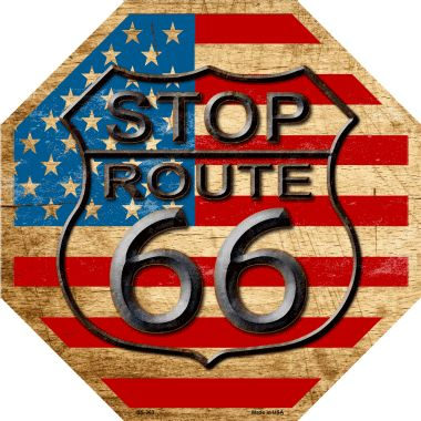Route 66 American Flag VINTAGE Wholesale Metal Novelty Stop Sign BS-363