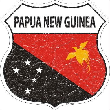 Papua NEW Guinea Country Flag Highway Shield Wholesale Metal Sign HS-367