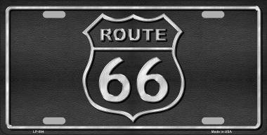 ROUTE 66 Shield Black Wholesale Metal Novelty License Plate LP-094