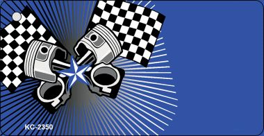 Pistons Checkered FLAGs OffSet Wholesale Novelty Key Chain KC-2350