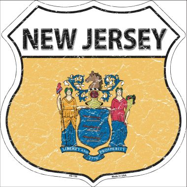 NEW Jersey State Flag Highway Shield Wholesale Metal Sign HS-138