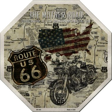 Route 66 Mother Road VINTAGE Wholesale Metal Novelty Stop Sign BS-365