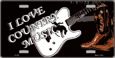 I Love Country MUSIC Wholesale Metal Novelty License Plate LP-340