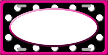 White Black Polka Dots Print With Pink FRAME And White Center Oval Wholesale Metal Novelty License P