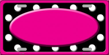 White Black Polka Dots Print With Pink FRAME And Center Oval Wholesale Metal Novelty License Plate L