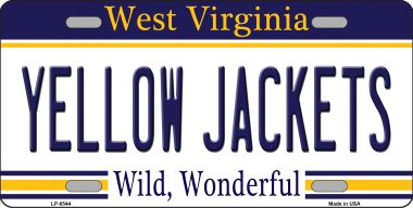 Yellow JACKETs West Virginia Novelty Wholesale Metal License Plate LP-6544