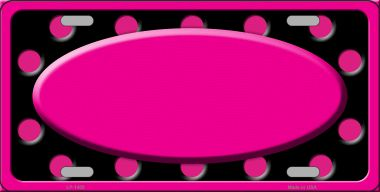 Pink Black Polka Dots Print With Pink FRAME And Center Oval Wholesale Metal Novelty License Plate LP