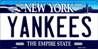YANKEES New York State Background Wholesale Novelty Metal License Plate LP-2089