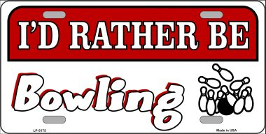 Rather Be BOWLING Wholesale Metal Novelty License Plate LP-5175