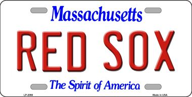 RED SOX Massachusetts State Background Wholesale Novelty Metal License Plate LP-2090
