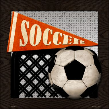 SOCCER Wholesale Novelty Metal Square Sign SQ-080