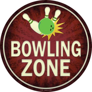 BOWLING Zone Wholesale Novelty Metal Circular Sign C-847